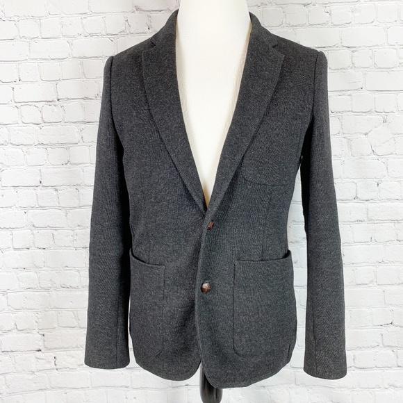012fbf3a Zara Man Grey Wool Blend Knit Blazer Elbow Patches.  M_5cd836471153baef52d93c17